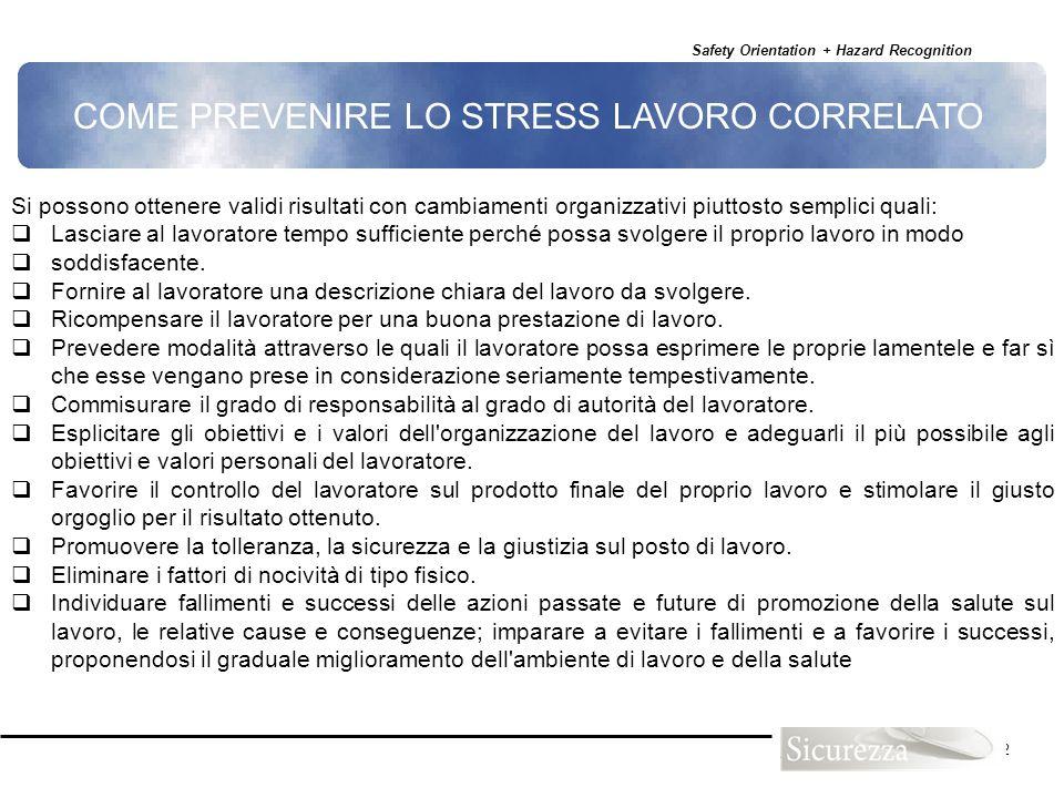 COME PREVENIRE LO STRESS LAVORO CORRELATO