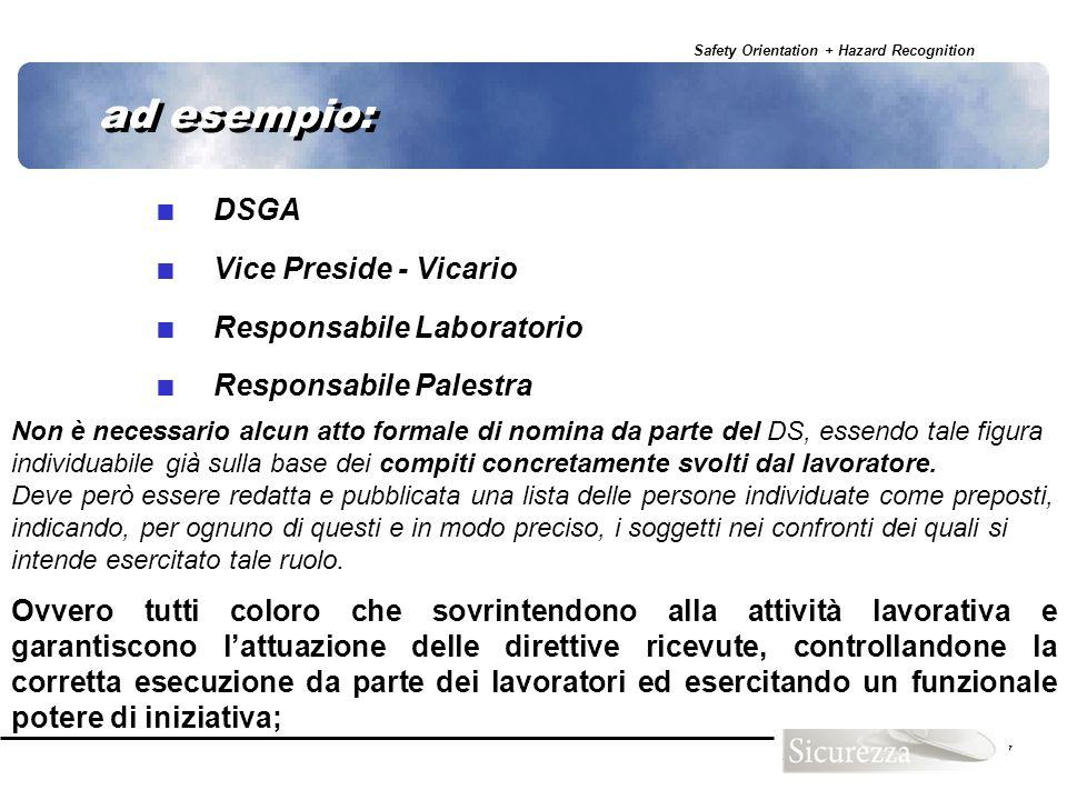 ad esempio: DSGA Vice Preside - Vicario Responsabile Laboratorio