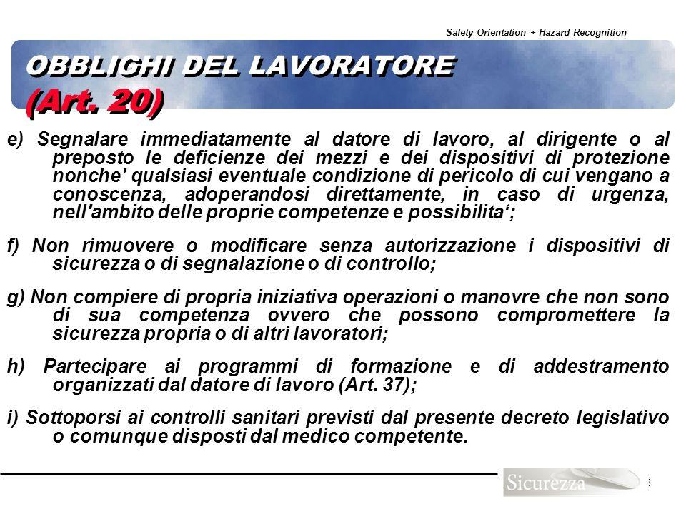 OBBLIGHI DEL LAVORATORE (Art. 20)