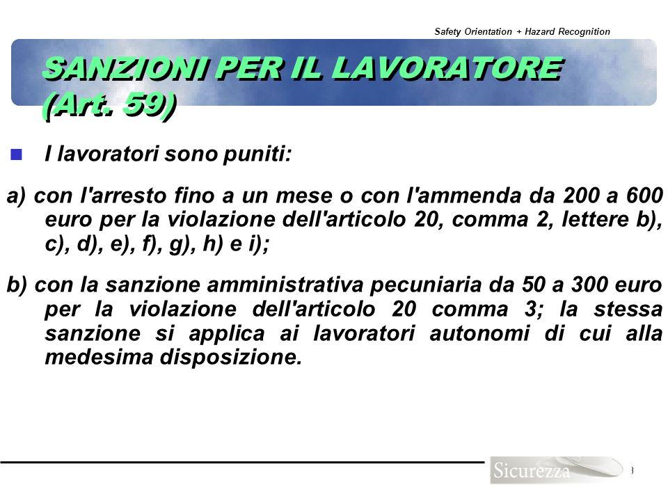 SANZIONI PER IL LAVORATORE (Art. 59)