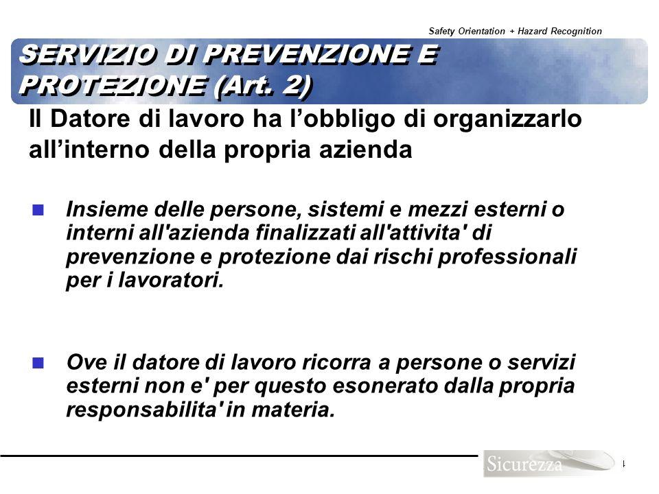 SERVIZIO DI PREVENZIONE E PROTEZIONE (Art. 2)