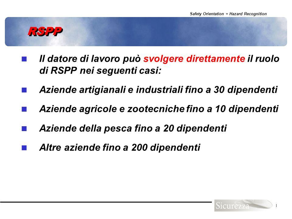 RSPP Il datore di lavoro può svolgere direttamente il ruolo di RSPP nei seguenti casi: Aziende artigianali e industriali fino a 30 dipendenti.