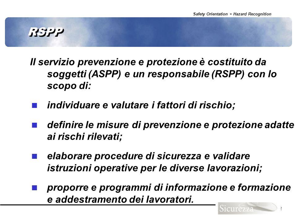 RSPP Il servizio prevenzione e protezione è costituito da soggetti (ASPP) e un responsabile (RSPP) con lo scopo di: