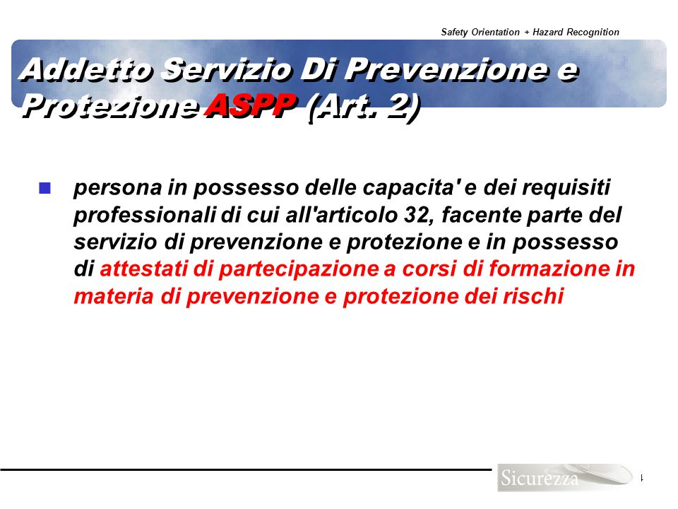 Addetto Servizio Di Prevenzione e Protezione ASPP (Art. 2)