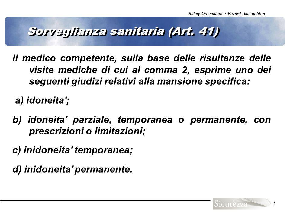 Sorveglianza sanitaria (Art. 41)