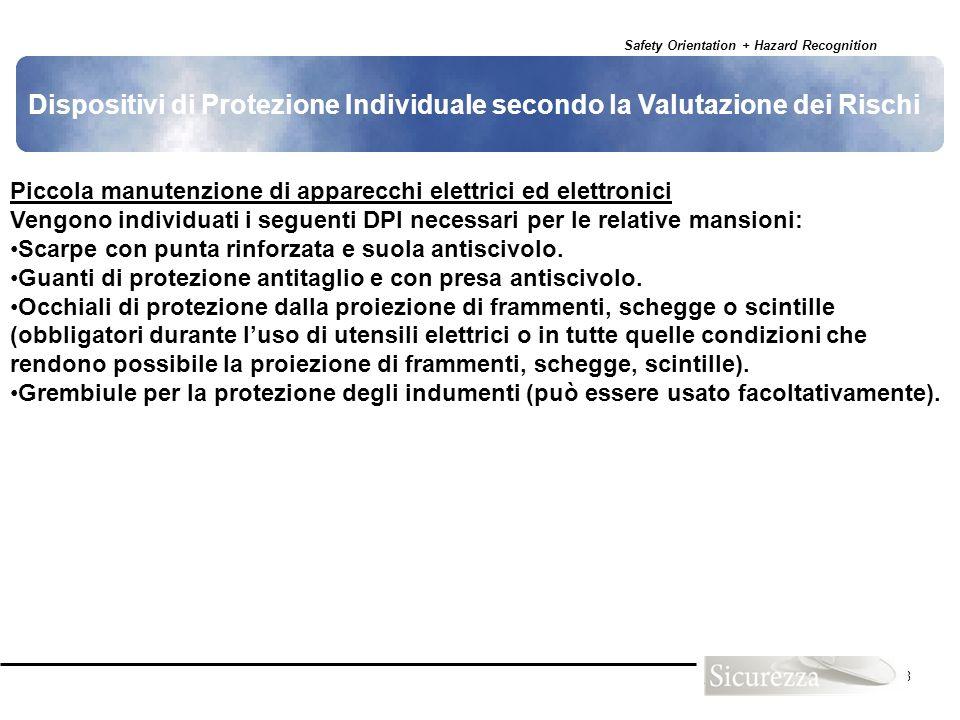 Dispositivi di Protezione Individuale secondo la Valutazione dei Rischi