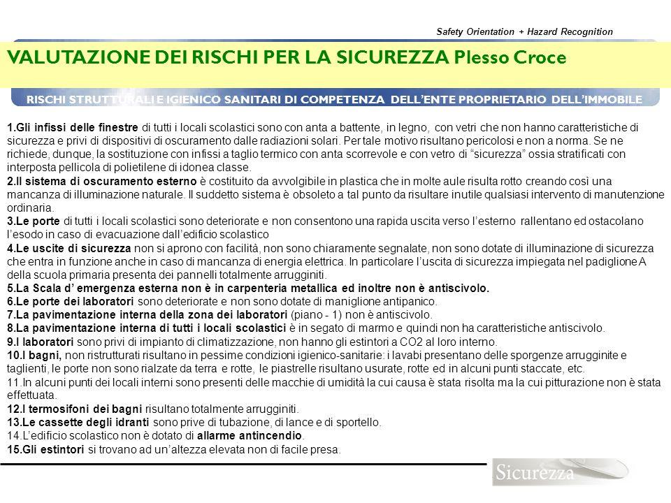 VALUTAZIONE DEI RISCHI PER LA SICUREZZA Plesso Croce