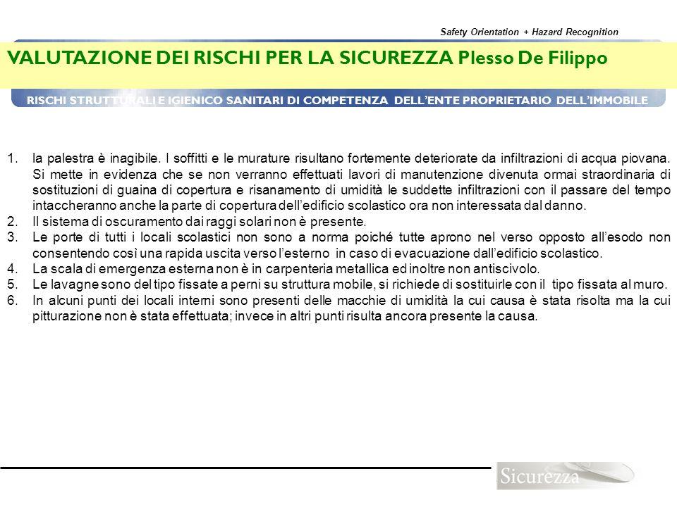 VALUTAZIONE DEI RISCHI PER LA SICUREZZA Plesso De Filippo