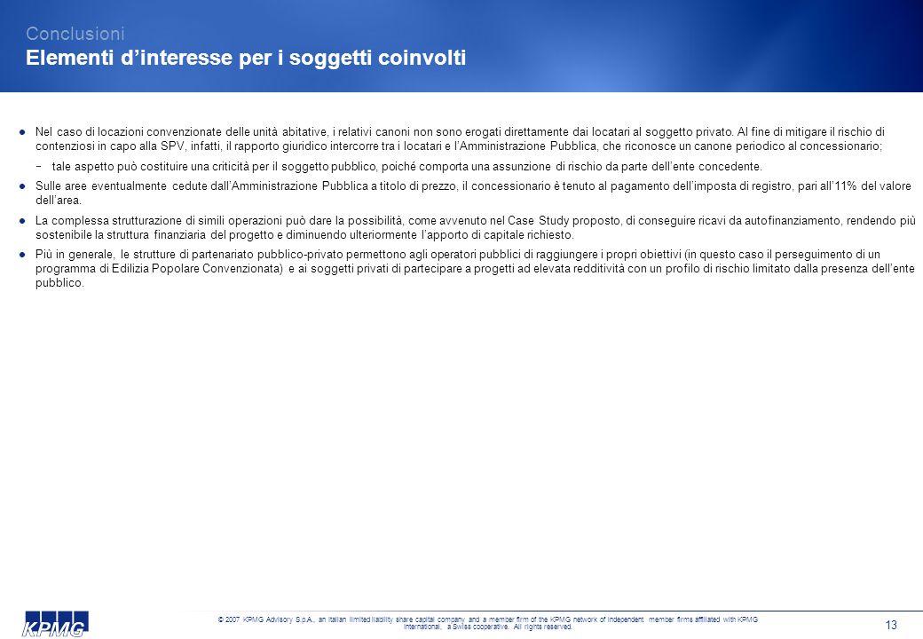 Conclusioni Elementi d'interesse per i soggetti coinvolti