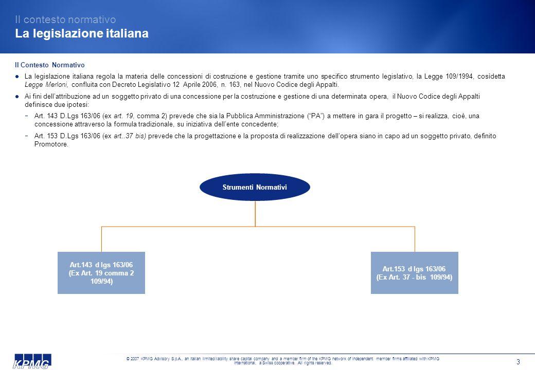 Il contesto normativo La legislazione italiana