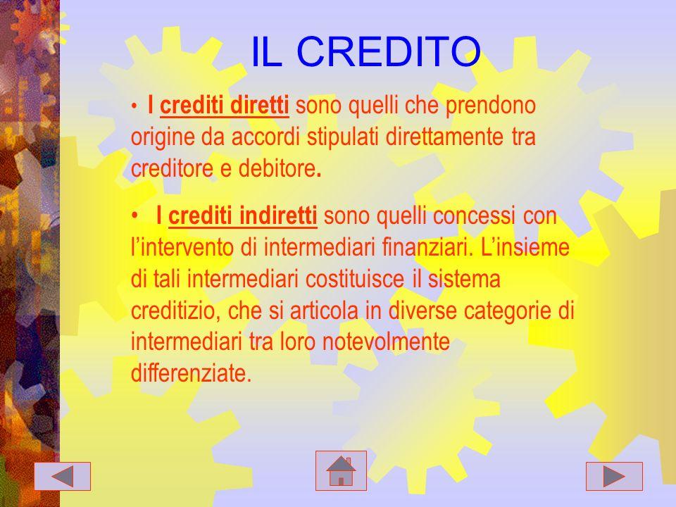 IL CREDITO I crediti diretti sono quelli che prendono origine da accordi stipulati direttamente tra creditore e debitore.