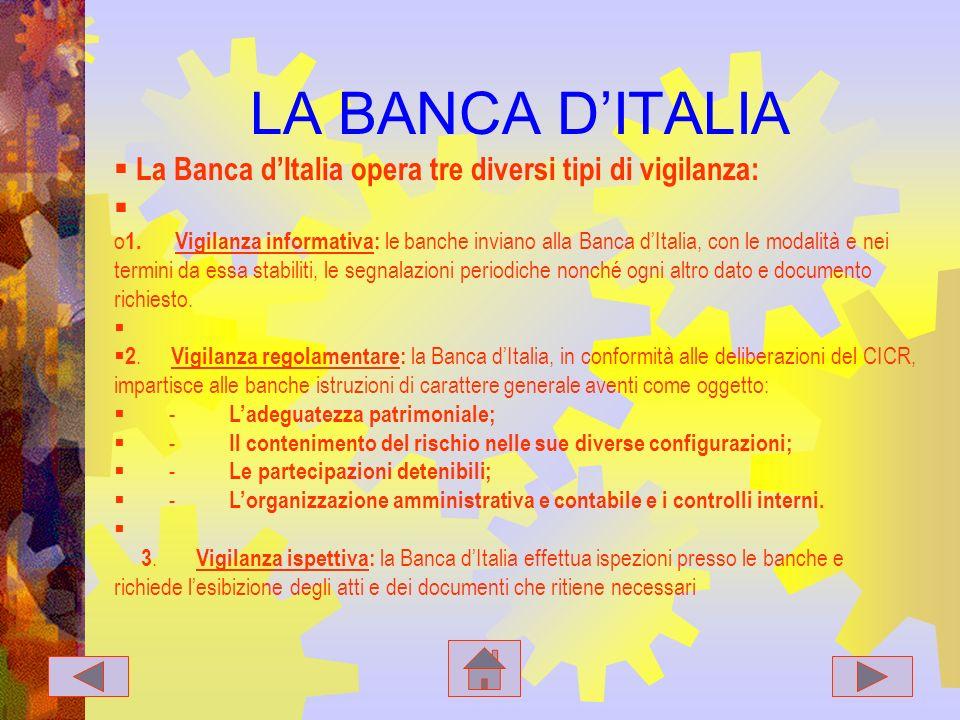 LA BANCA D'ITALIA La Banca d'Italia opera tre diversi tipi di vigilanza:
