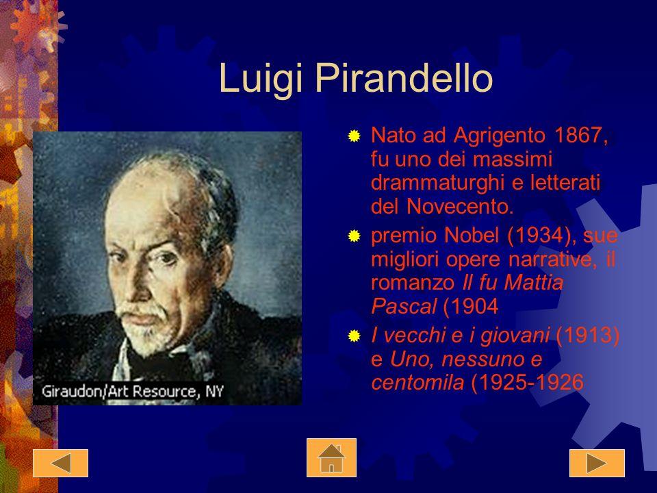 Luigi Pirandello Nato ad Agrigento 1867, fu uno dei massimi drammaturghi e letterati del Novecento.