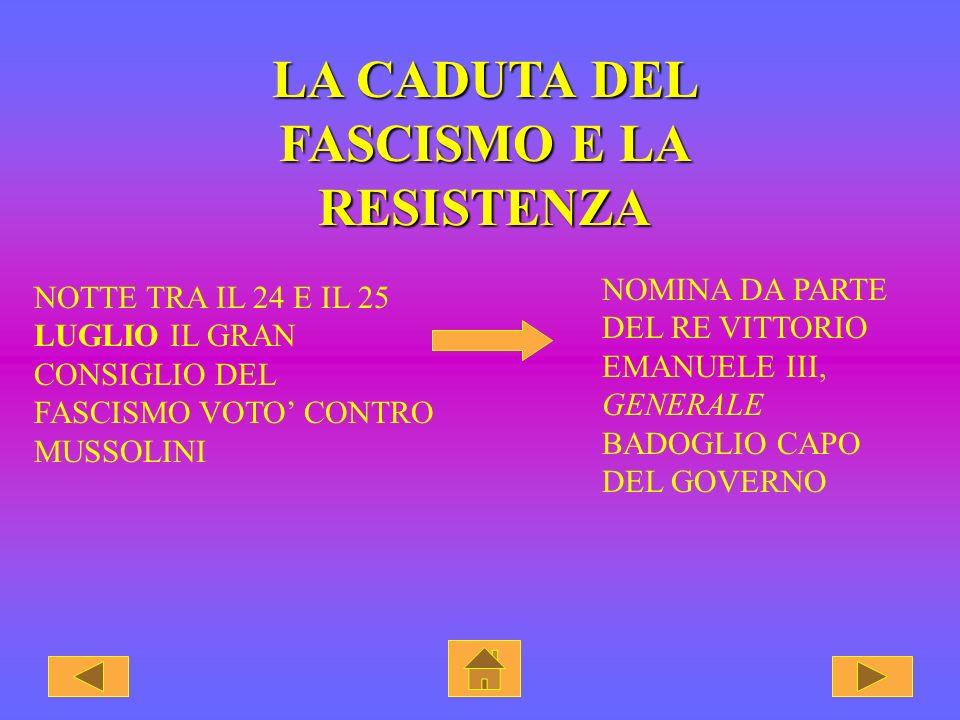 LA CADUTA DEL FASCISMO E LA RESISTENZA