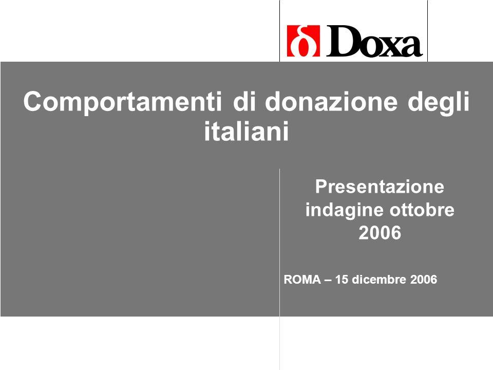 Comportamenti di donazione degli italiani