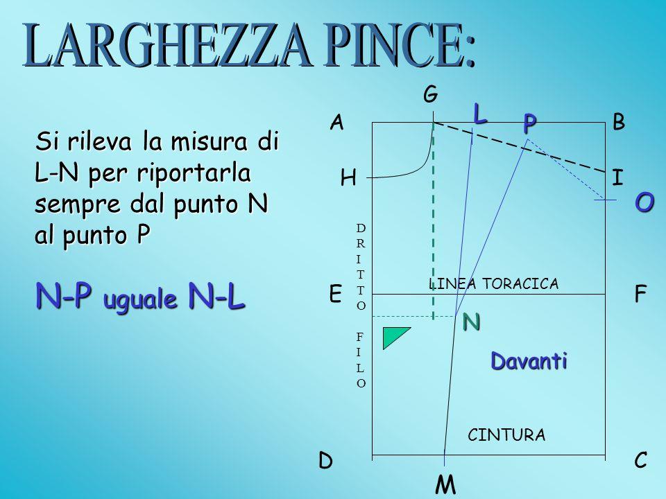 LARGHEZZA PINCE: N-P uguale N-L L P
