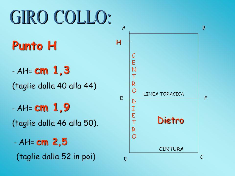 Punto H GIRO COLLO: Dietro - AH= cm 1,3 (taglie dalla 40 alla 44)