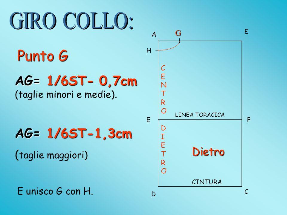 Punto G AG= 1/6ST- 0,7cm (taglie minori e medie). AG= 1/6ST-1,3cm