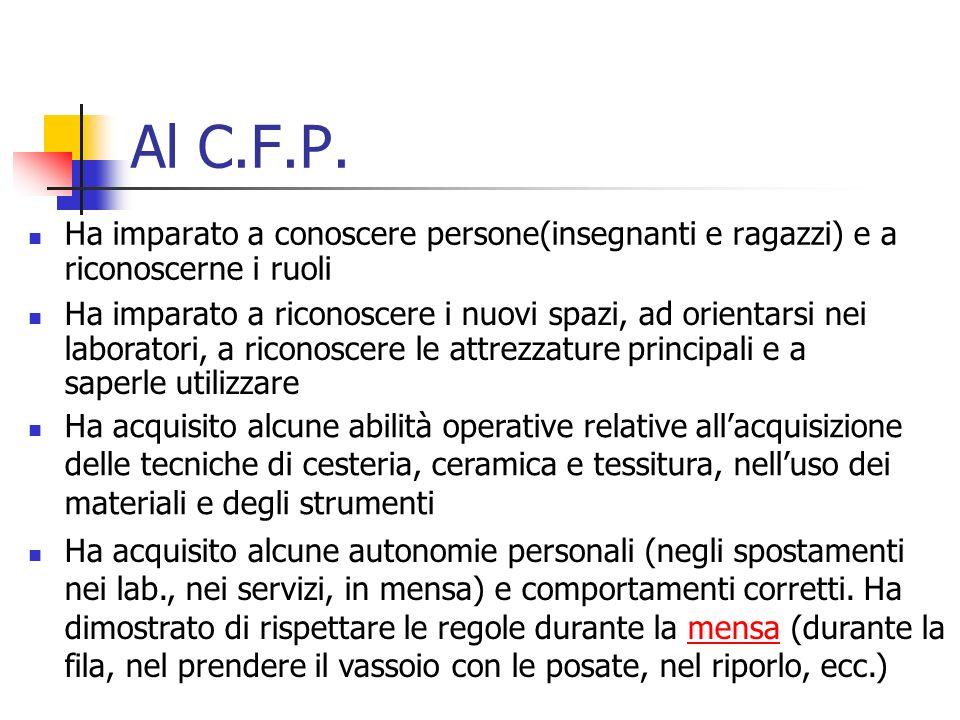 Al C.F.P. Ha imparato a conoscere persone(insegnanti e ragazzi) e a riconoscerne i ruoli.