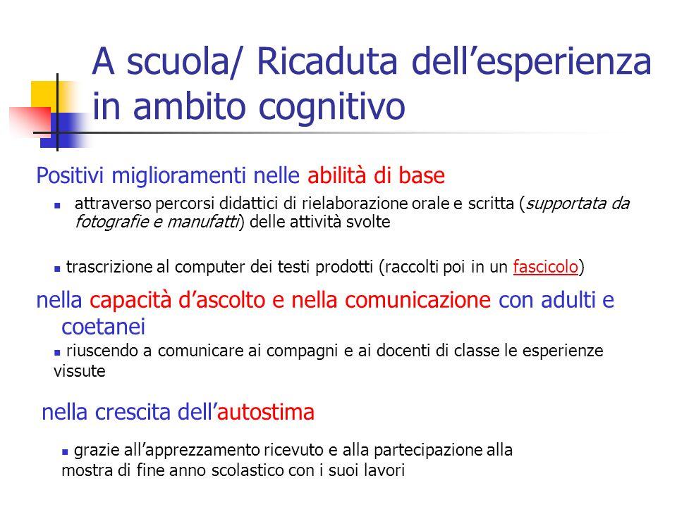 A scuola/ Ricaduta dell'esperienza in ambito cognitivo