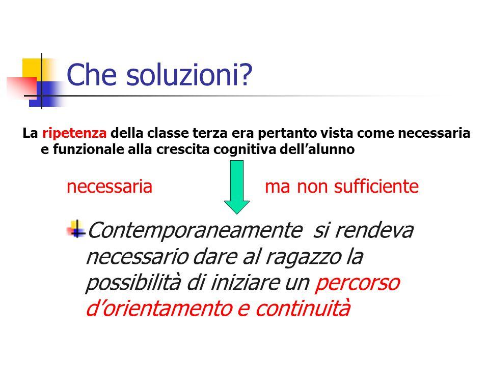 Che soluzioni La ripetenza della classe terza era pertanto vista come necessaria e funzionale alla crescita cognitiva dell'alunno.