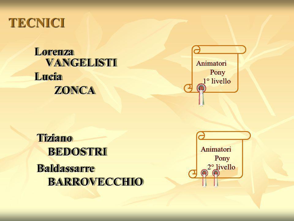 TECNICI Lorenza VANGELISTI Lucia ZONCA Tiziano BEDOSTRI
