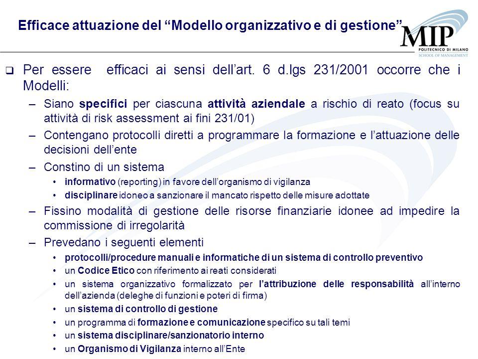 Efficace attuazione del Modello organizzativo e di gestione
