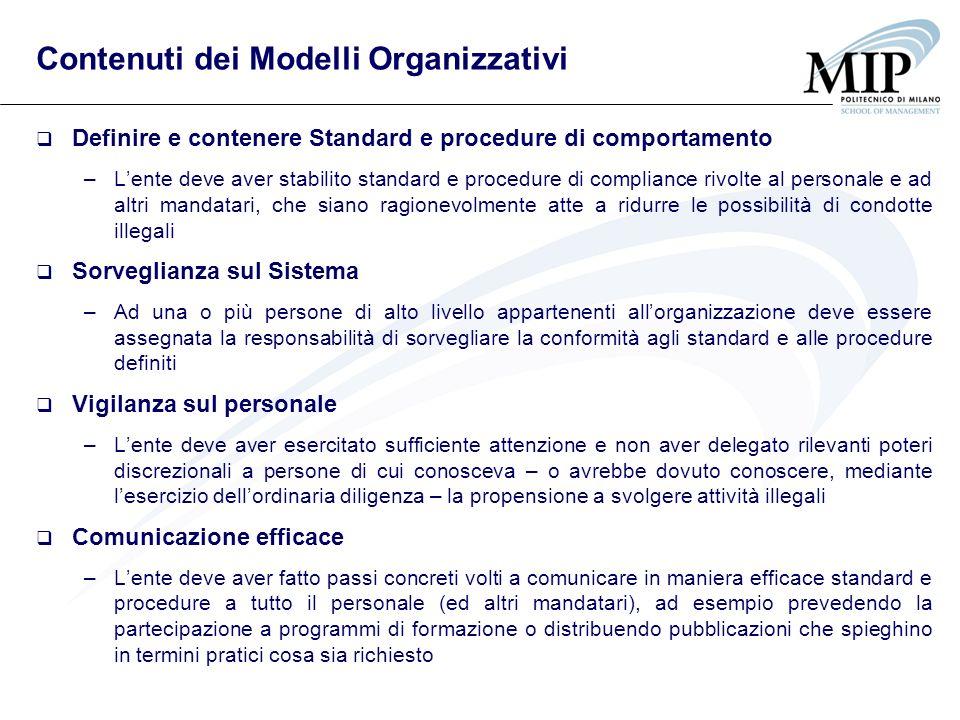 Contenuti dei Modelli Organizzativi