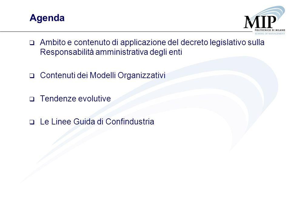 Agenda Ambito e contenuto di applicazione del decreto legislativo sulla Responsabilità amministrativa degli enti.