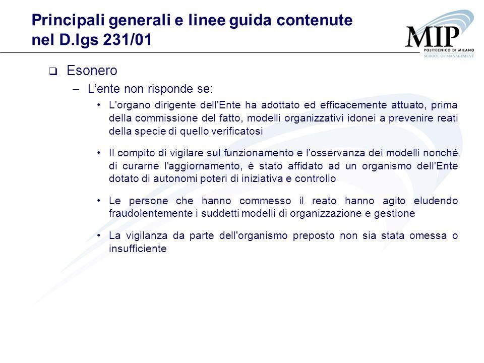 Principali generali e linee guida contenute nel D.lgs 231/01