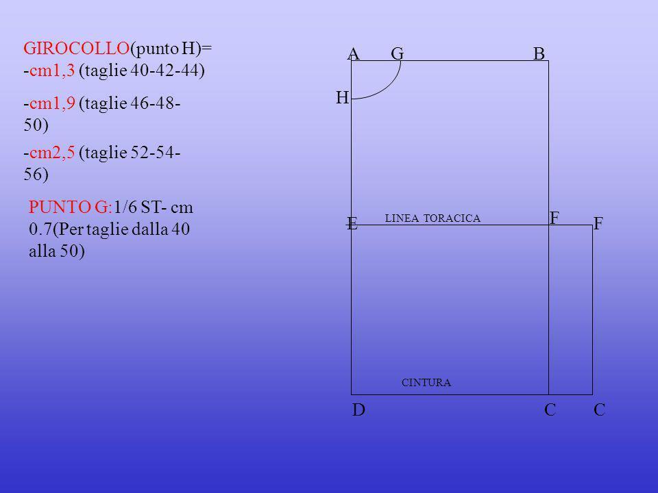 GIROCOLLO(punto H)= -cm1,3 (taglie 40-42-44) A G B