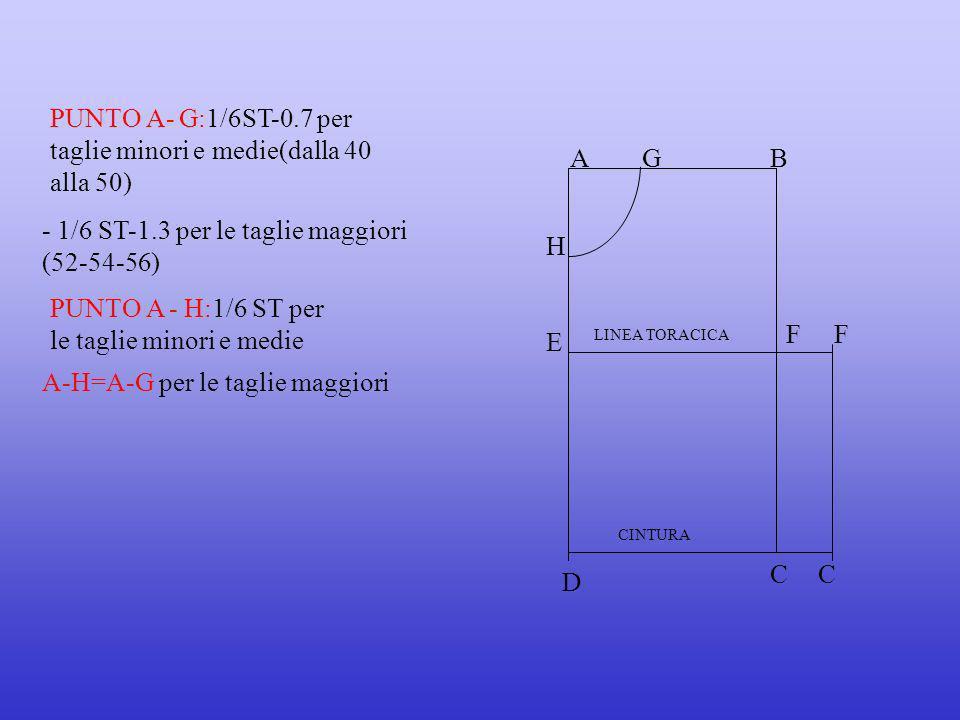 PUNTO A- G:1/6ST-0.7 per taglie minori e medie(dalla 40 alla 50)
