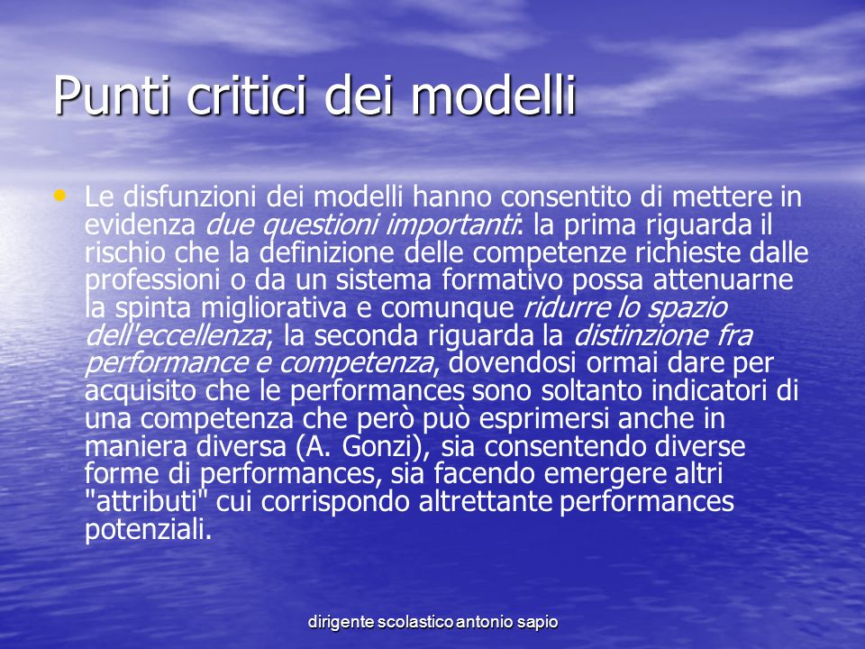 Punti critici dei modelli