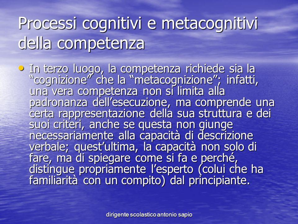Processi cognitivi e metacognitivi della competenza