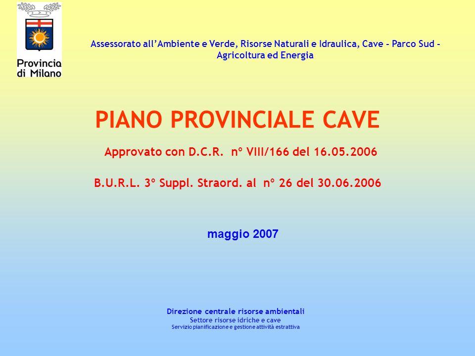 Assessorato all'Ambiente e Verde, Risorse Naturali e Idraulica, Cave - Parco Sud -Agricoltura ed Energia