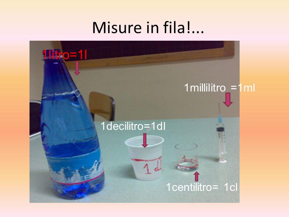 Misure in fila!... 1litro=1l 1millilitro =1ml 1decilitro=1dl