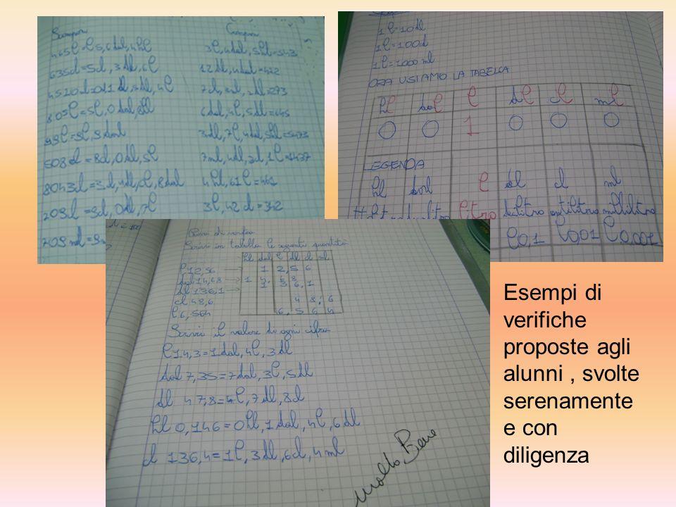 Esempi di verifiche proposte agli alunni , svolte serenamente e con diligenza