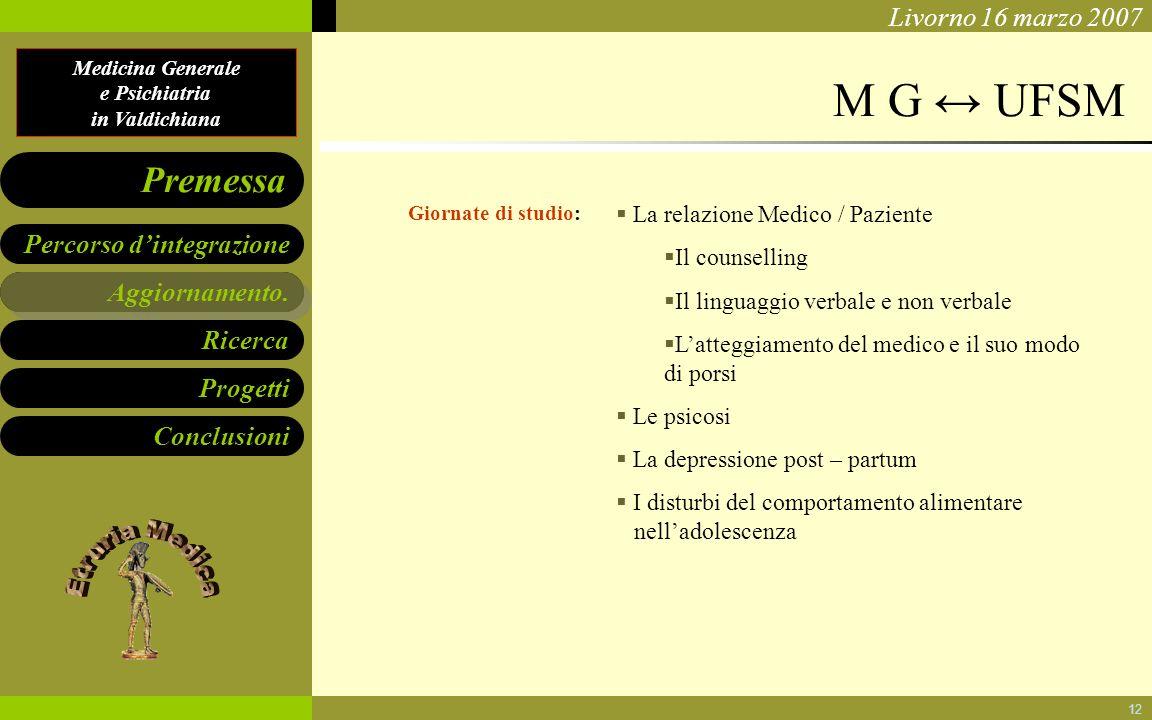 M G ↔ UFSM Aggiornamento. La relazione Medico / Paziente