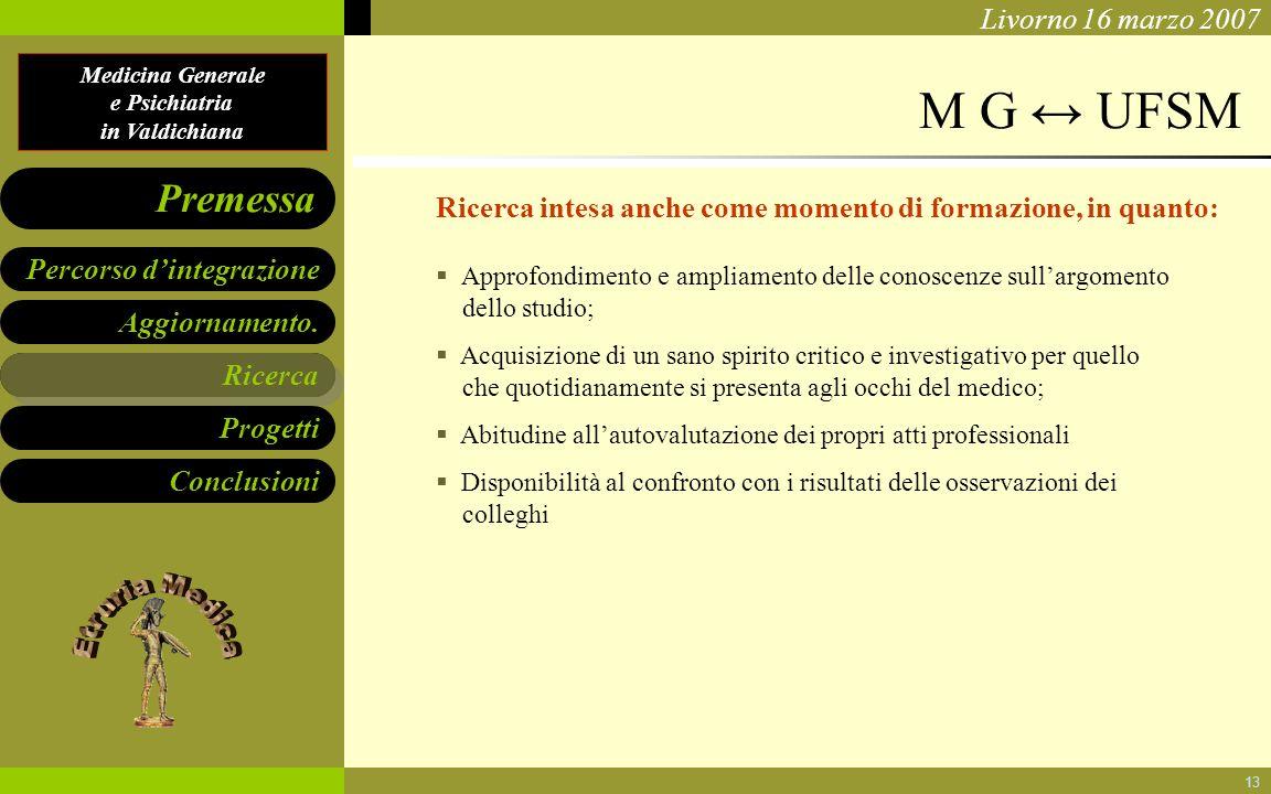 M G ↔ UFSM Ricerca intesa anche come momento di formazione, in quanto: