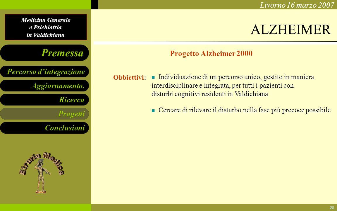 ALZHEIMER Progetto Alzheimer 2000 Progetti Obbiettivi: