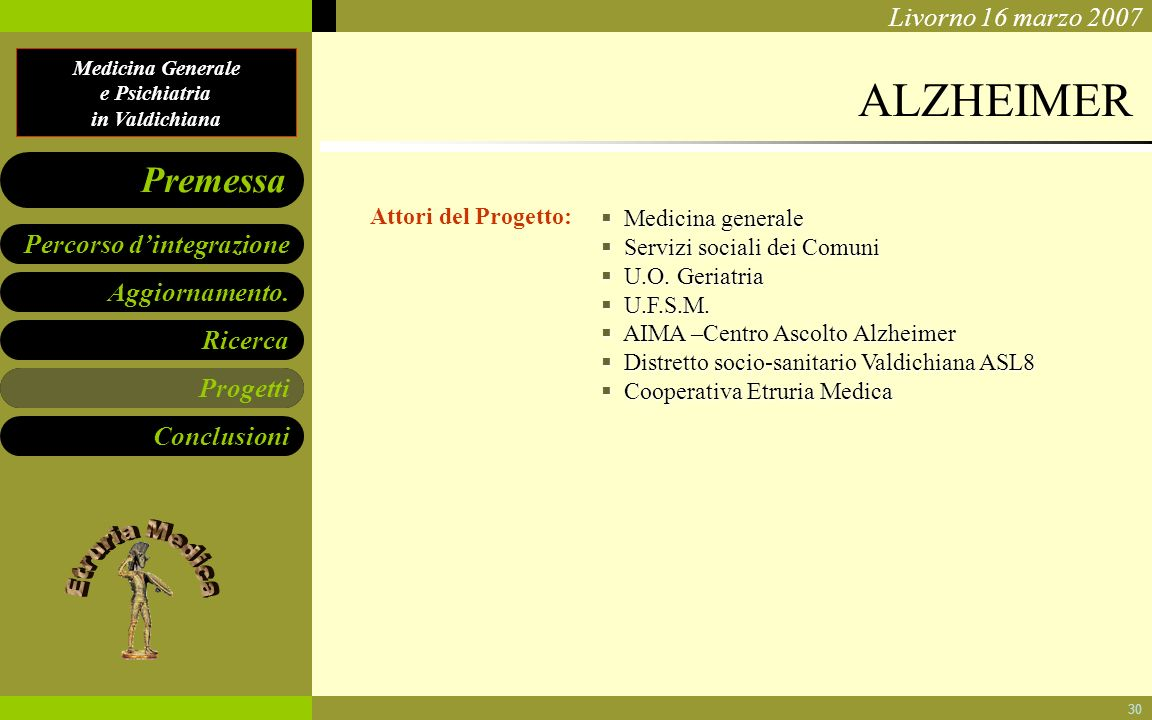ALZHEIMER Progetti Attori del Progetto: Medicina generale