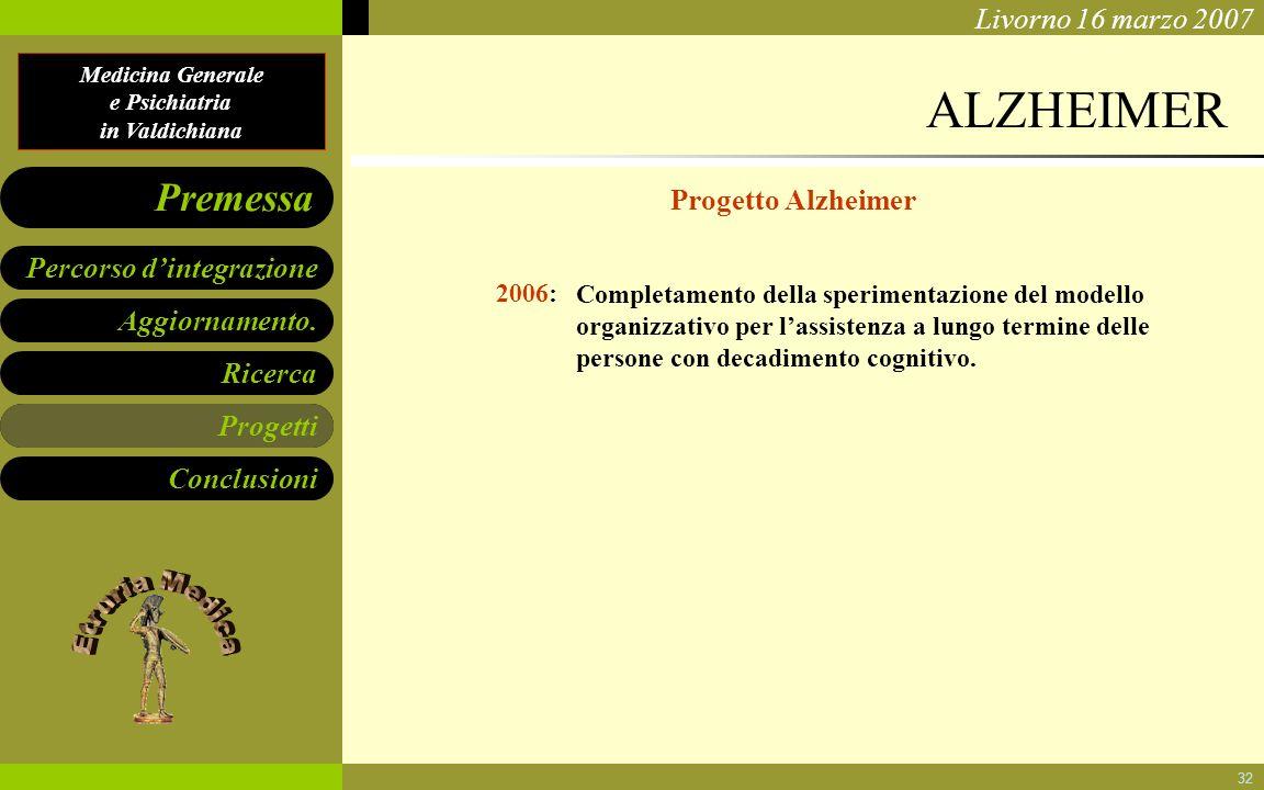 ALZHEIMER Progetto Alzheimer Progetti 2006: