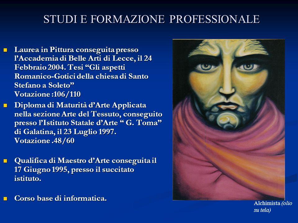 STUDI E FORMAZIONE PROFESSIONALE