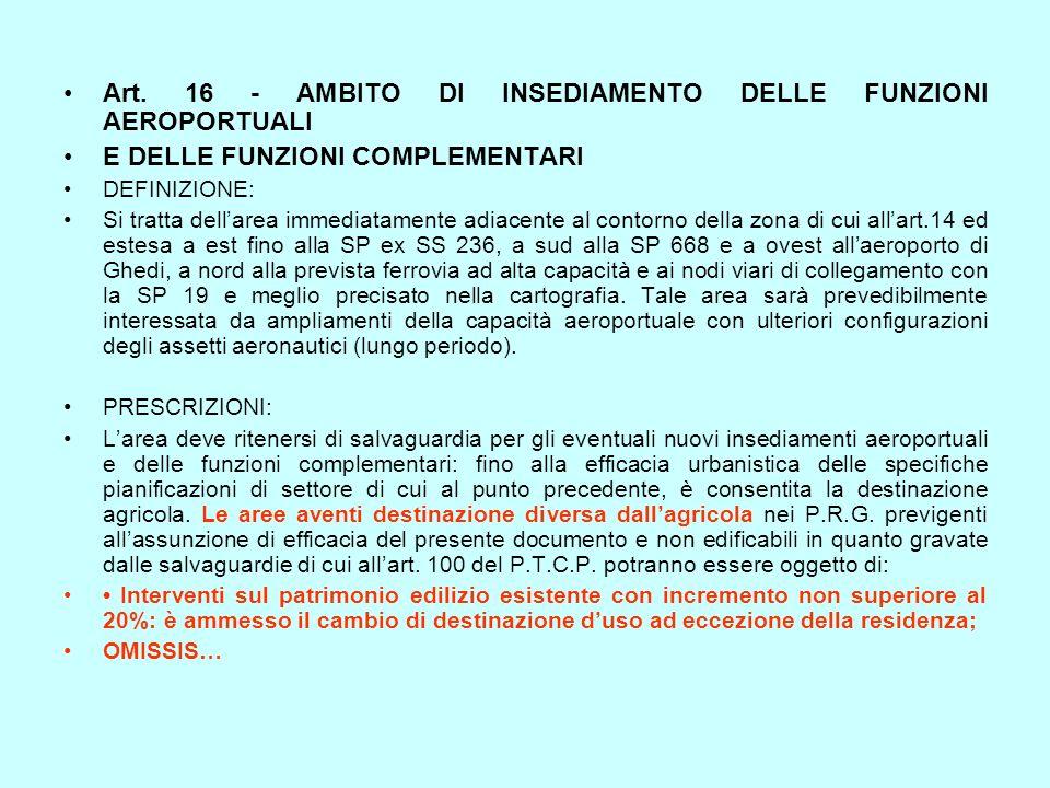 Art. 16 - AMBITO DI INSEDIAMENTO DELLE FUNZIONI AEROPORTUALI