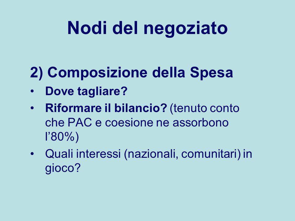 Nodi del negoziato 2) Composizione della Spesa Dove tagliare