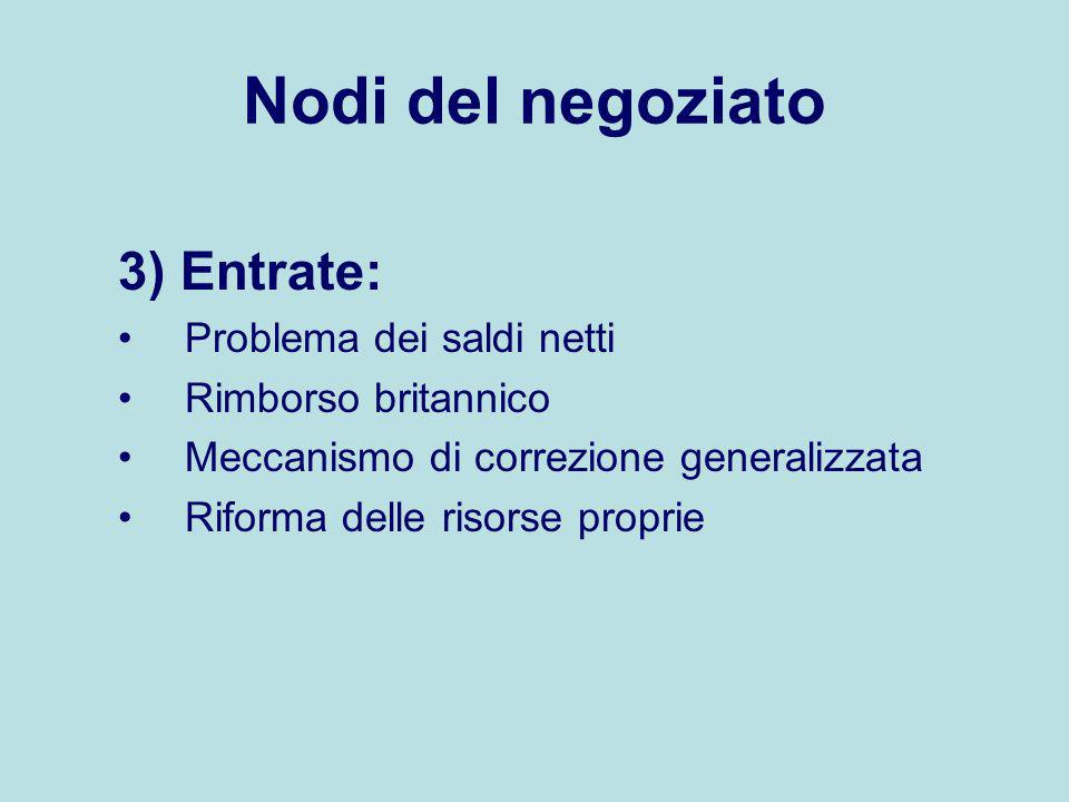 Nodi del negoziato 3) Entrate: Problema dei saldi netti
