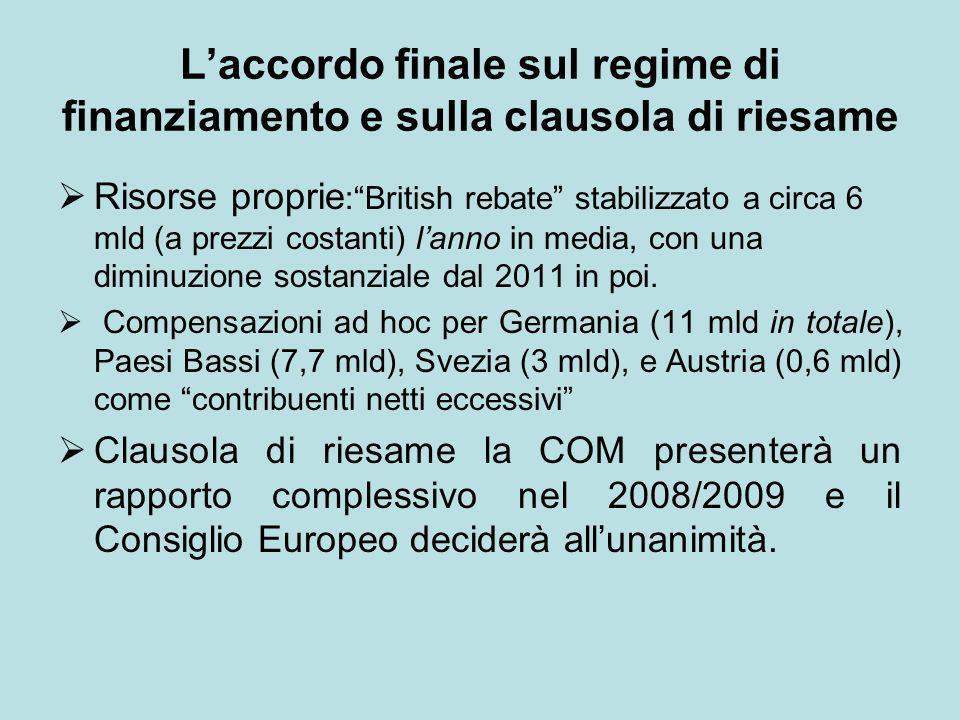 L'accordo finale sul regime di finanziamento e sulla clausola di riesame