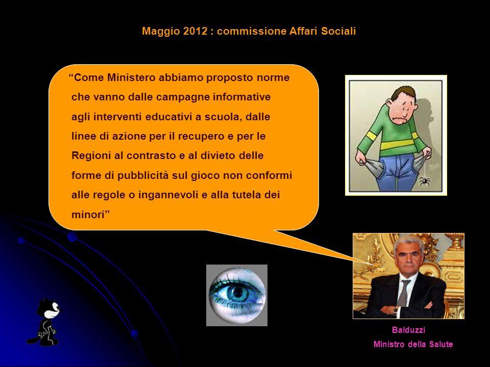 Maggio 2012 : commissione Affari Sociali