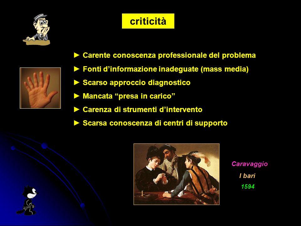 criticità Carente conoscenza professionale del problema