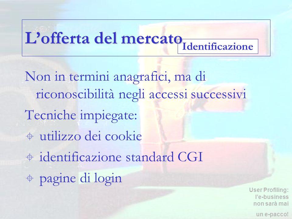 L'offerta del mercato Identificazione. Non in termini anagrafici, ma di riconoscibilità negli accessi successivi.